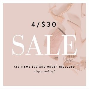 4/$30 Sale! Any item $20 and under is included 💕